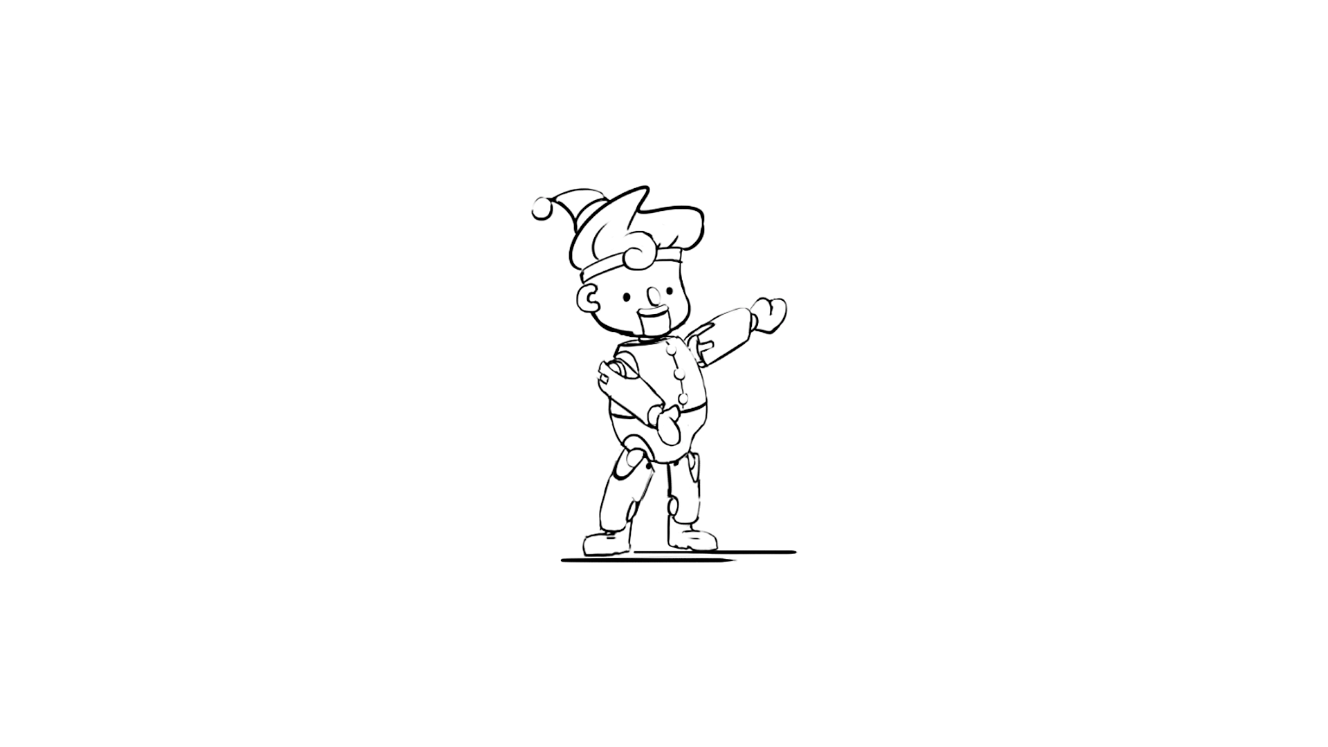 Character Design sketch of a stylized Christmas Elf