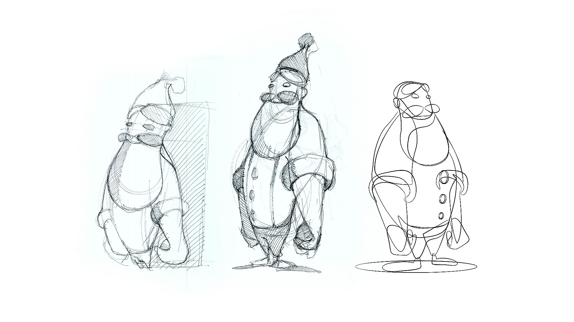 Character Design sketch of various Santa Claus