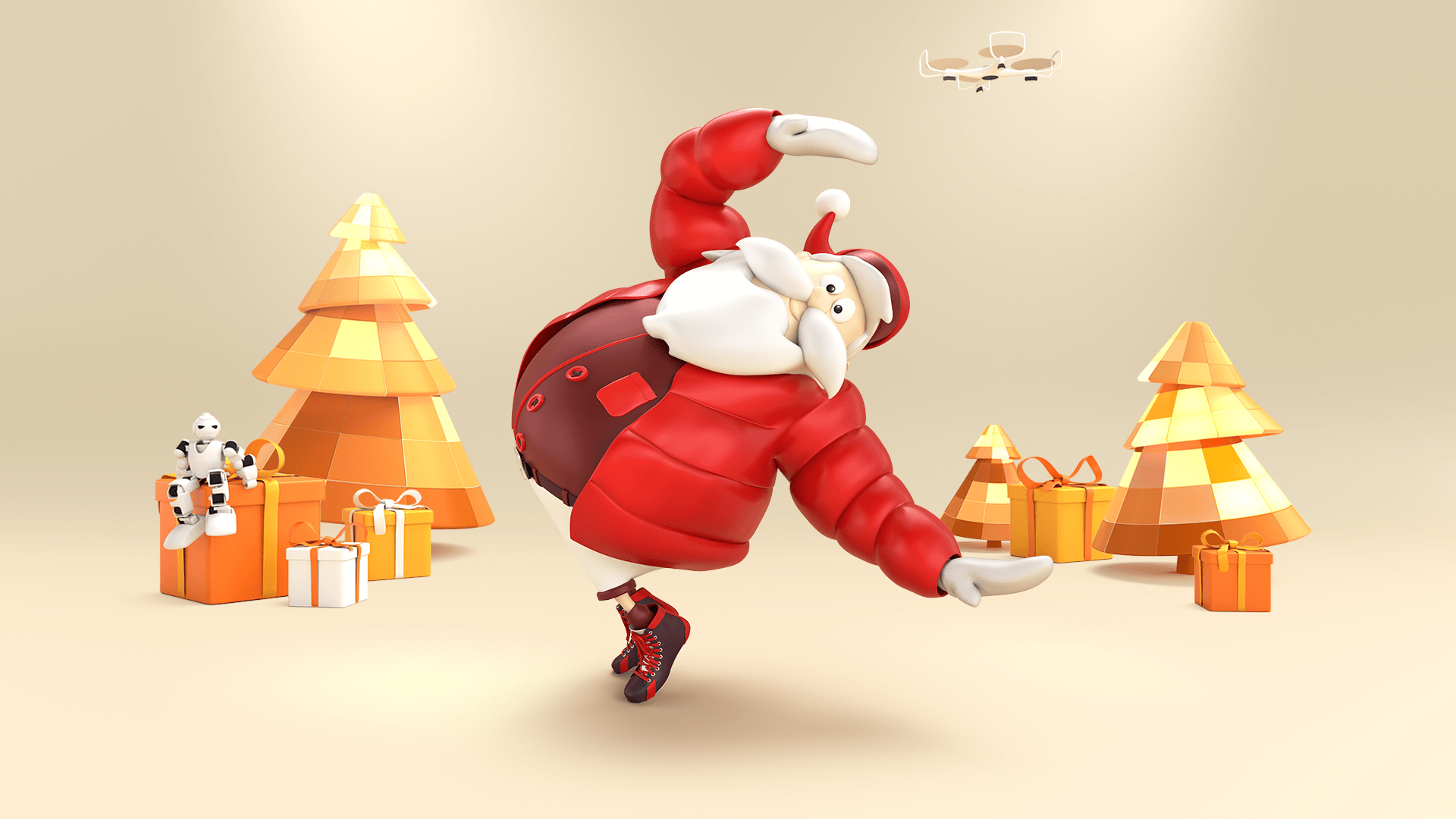 3d character toon of a Santa Claus