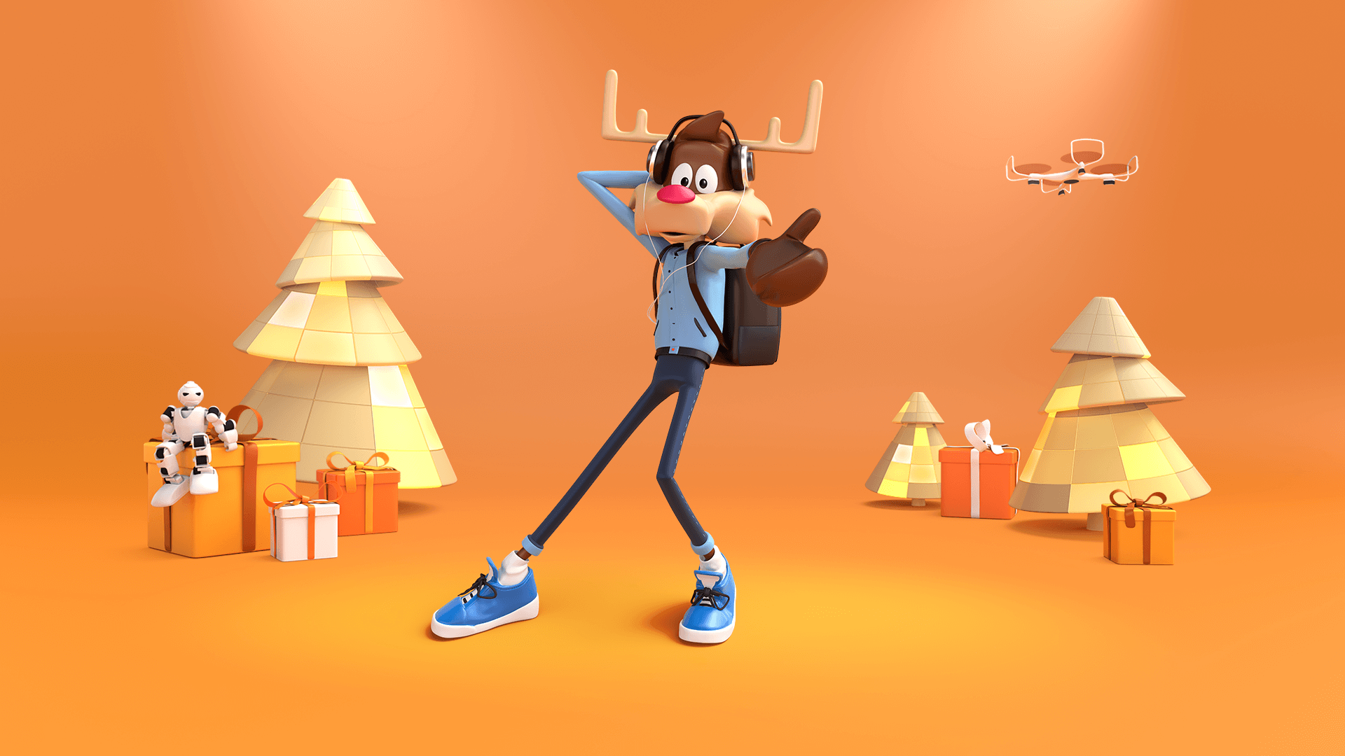3d character toon of an humanoid christmas reindeer