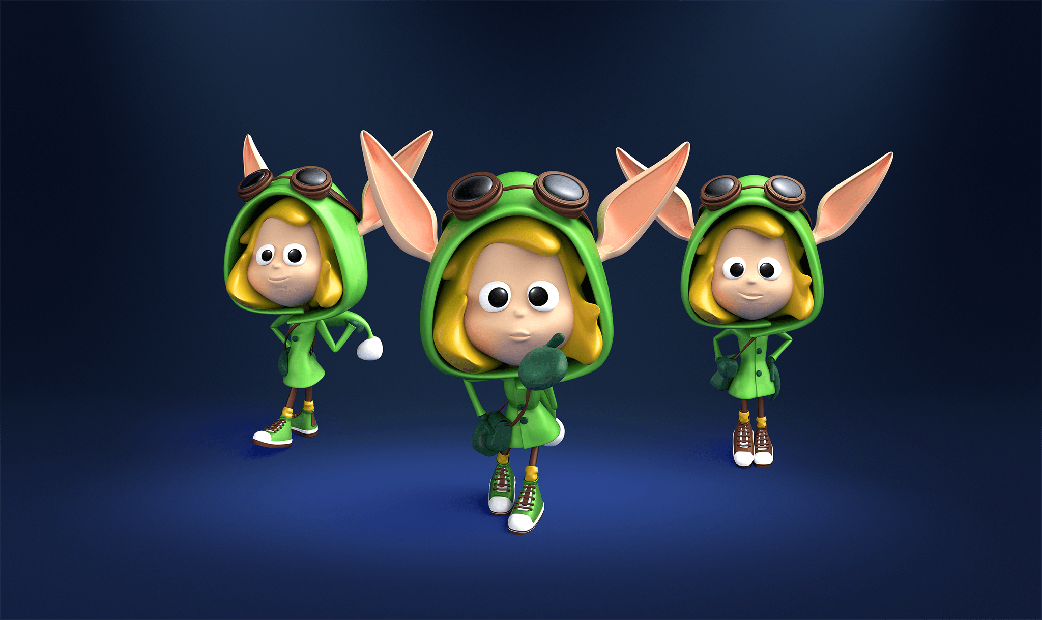 3d character toon of a Christmas Elf in various poses