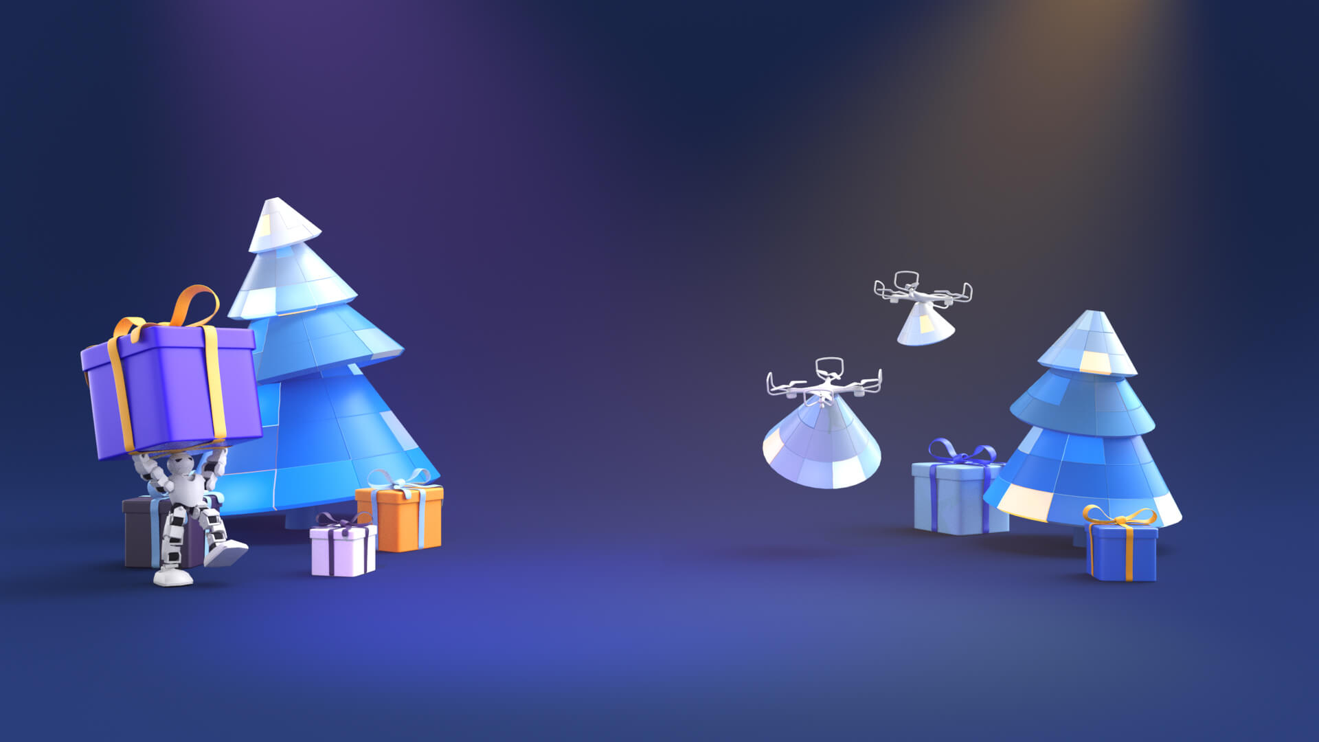 3D toon decorative background in a Christmas theme