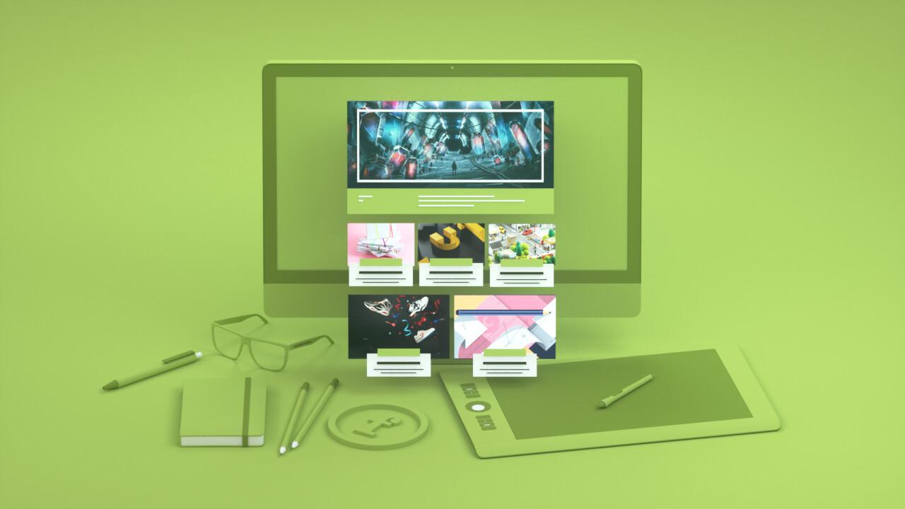 3D visual of stylized graphist desktop