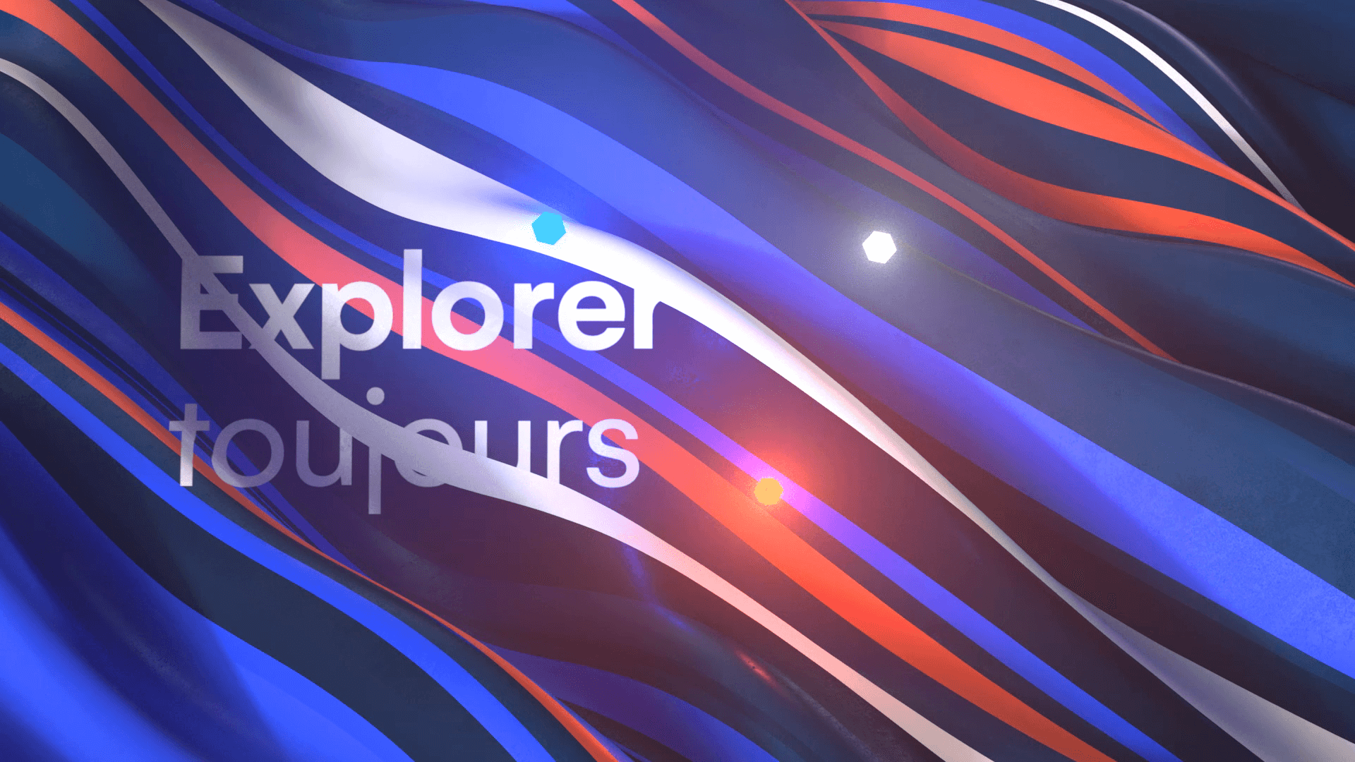 Abstract 3D background with multiple waves of colors for a motion design film