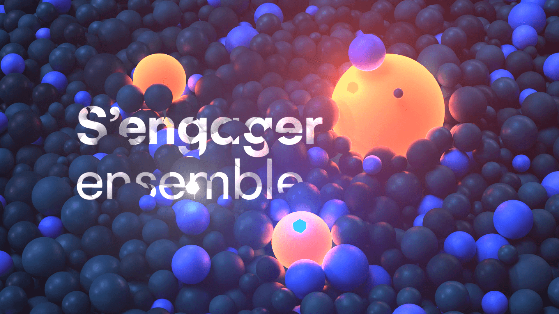 Glowing big 3D spheres emerging from below hundred of small spheres
