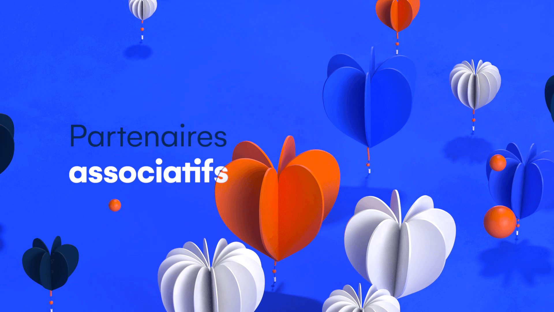 Colorful 3D hearts in paper art for a motion design film