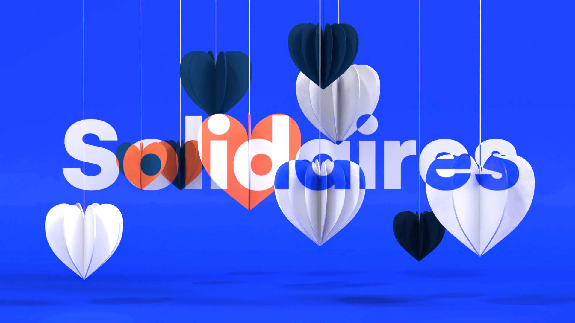 3D hearts in Paper hanging for a motion design film