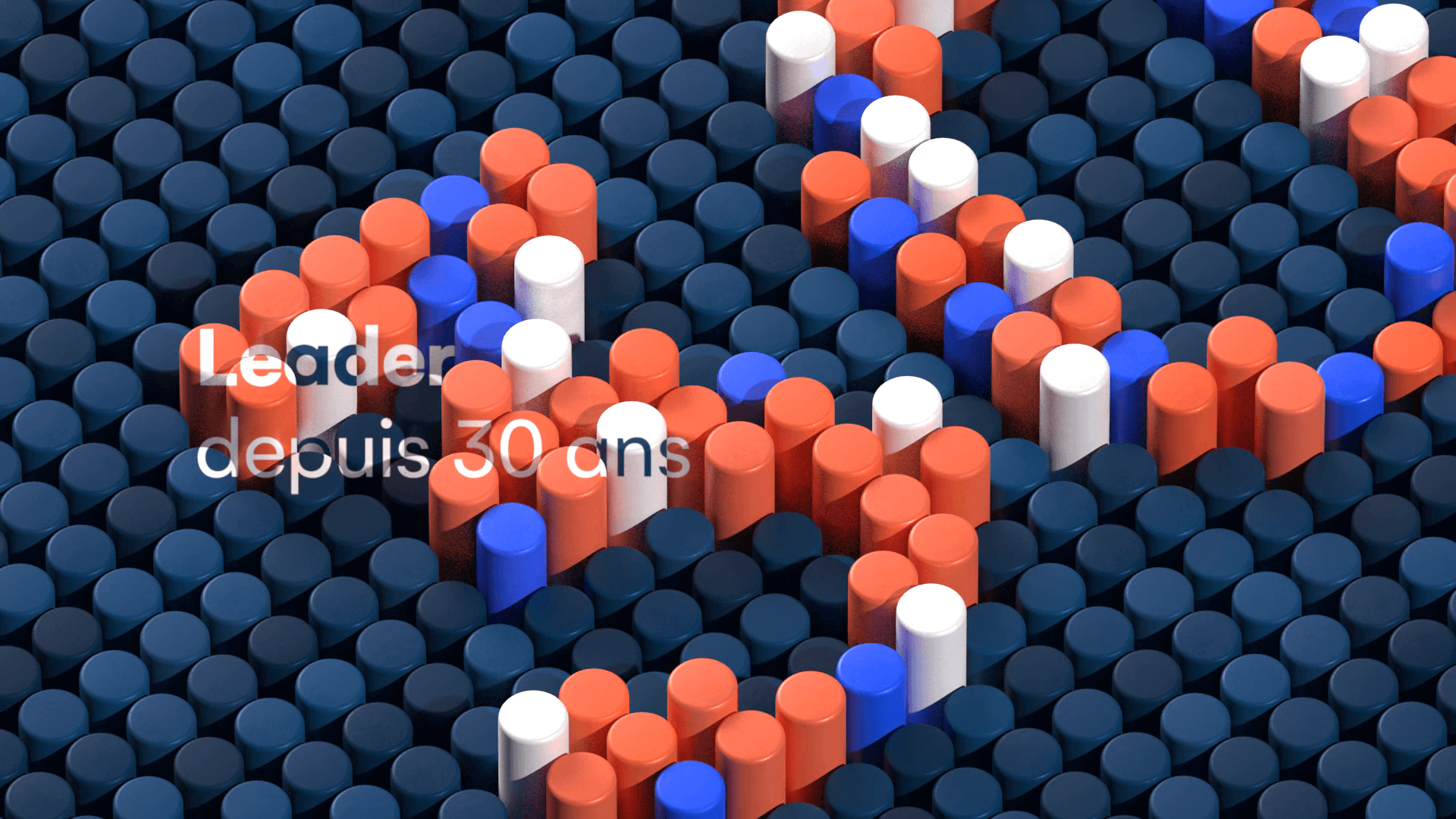 Colored 3D cylinders forming the number 30 for a motion design film