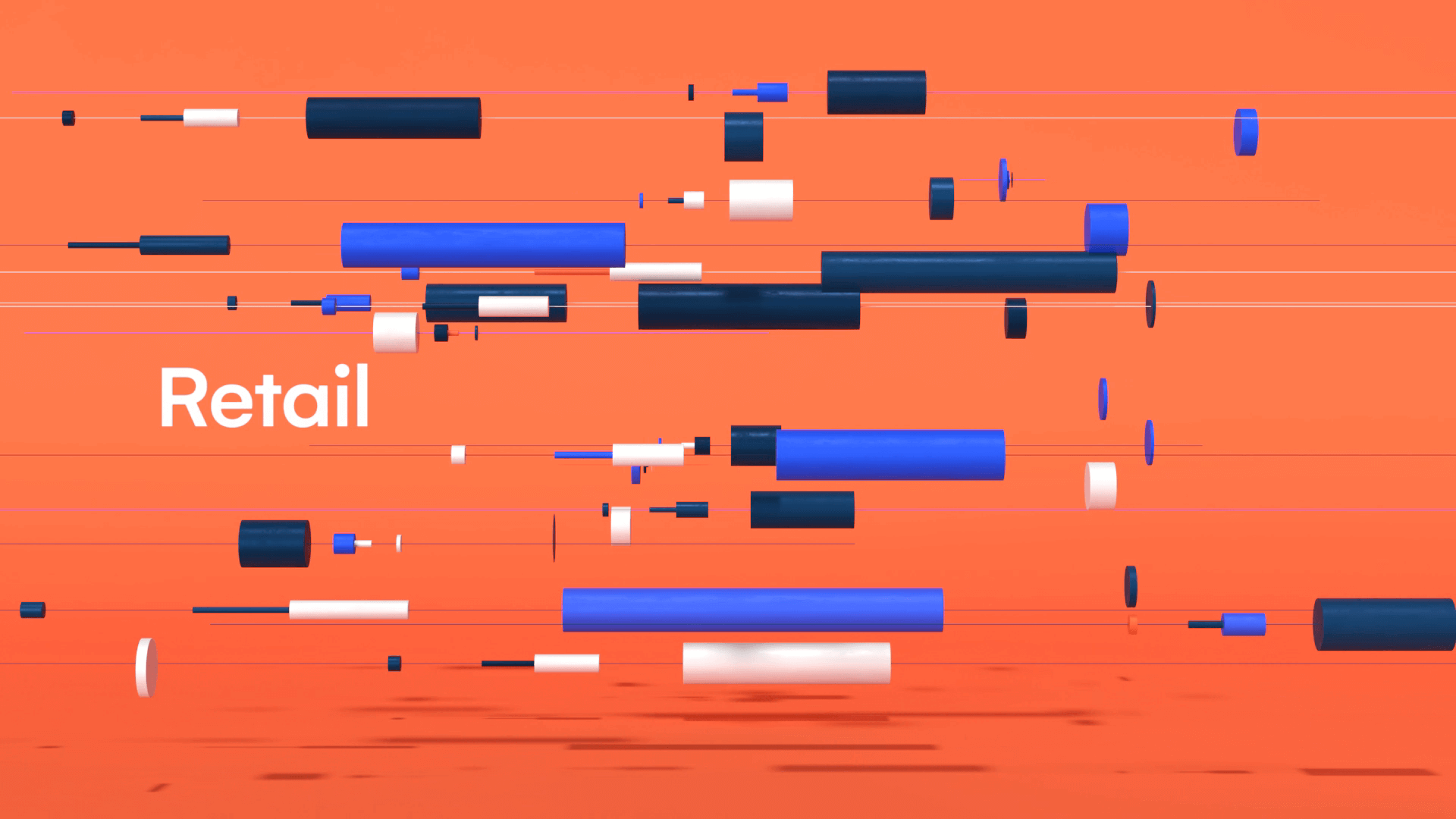 Orange 3D visual for Motion design with geometric and colorful shapes