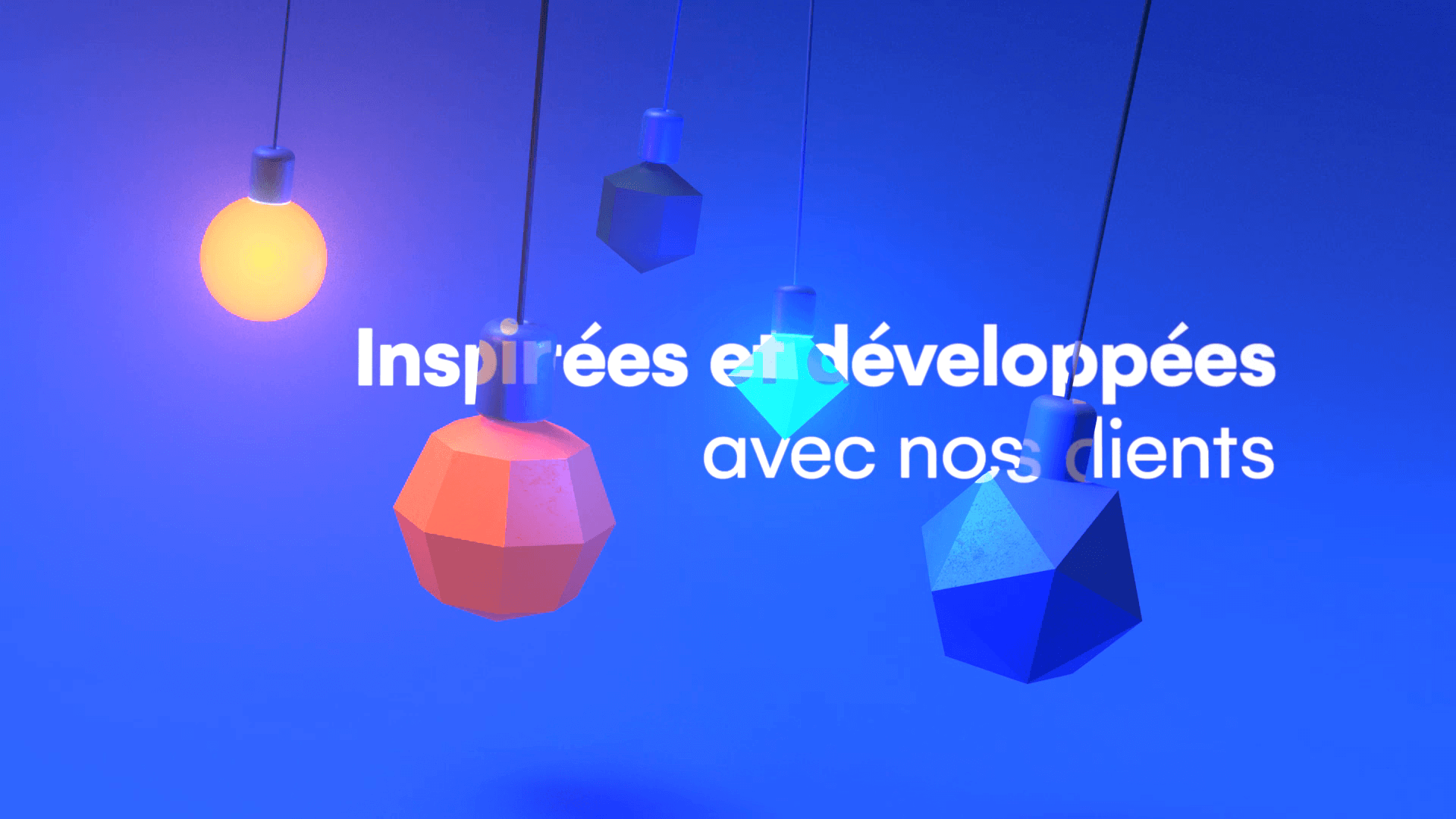 Colorful and abstract hanging lamps in 3D for motion design