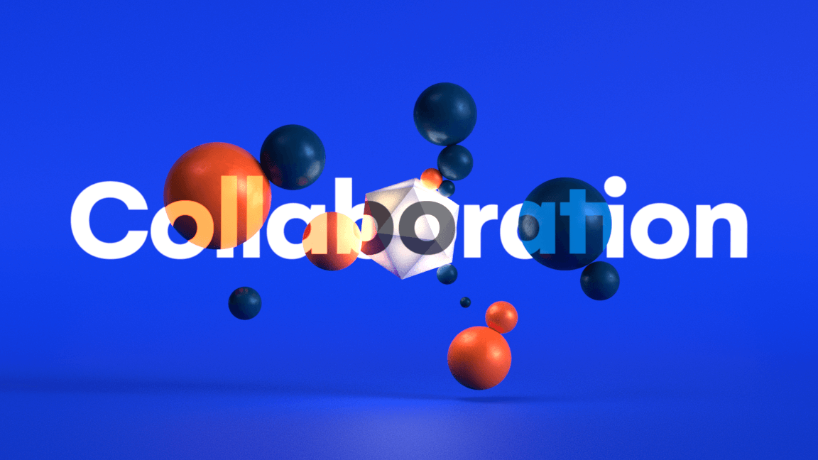 Abstract representation of the collaboration with simple 3D geometric shapes