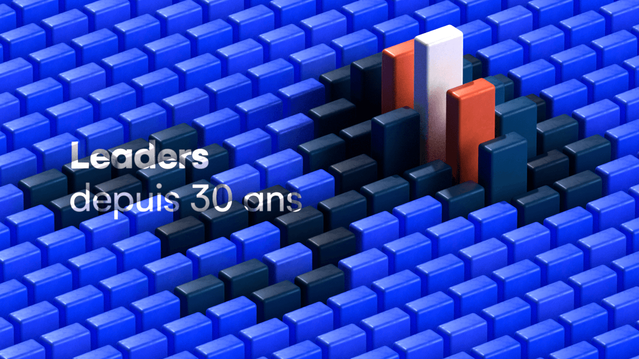 Colored 3D bars forming the number 30 with an isometric view