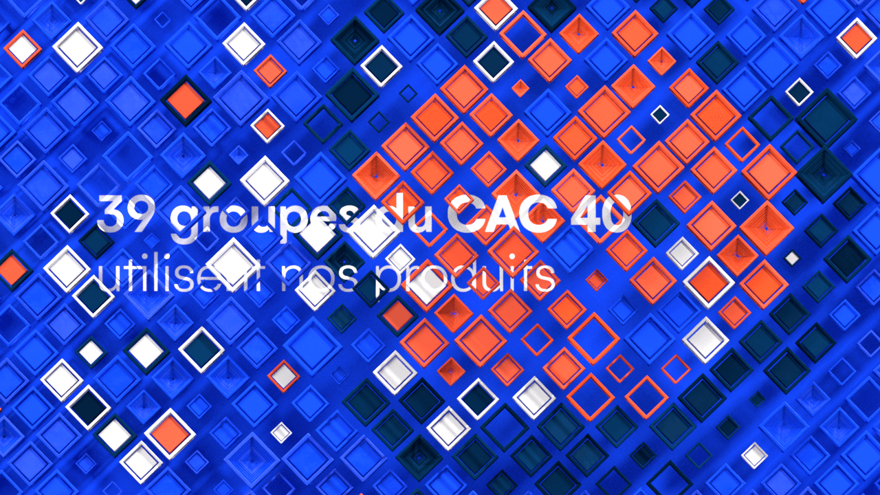 Abstract geometric design composed of hundred of colored 3D cubes