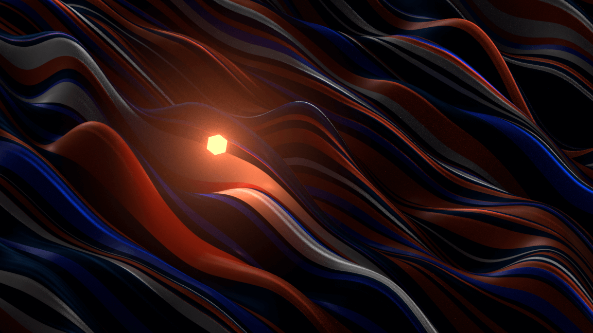Luminous 3D sphere flying above colored abstract waves for a motion design film