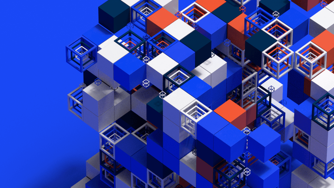 Abstract and colored 3D cubes for a motion design film