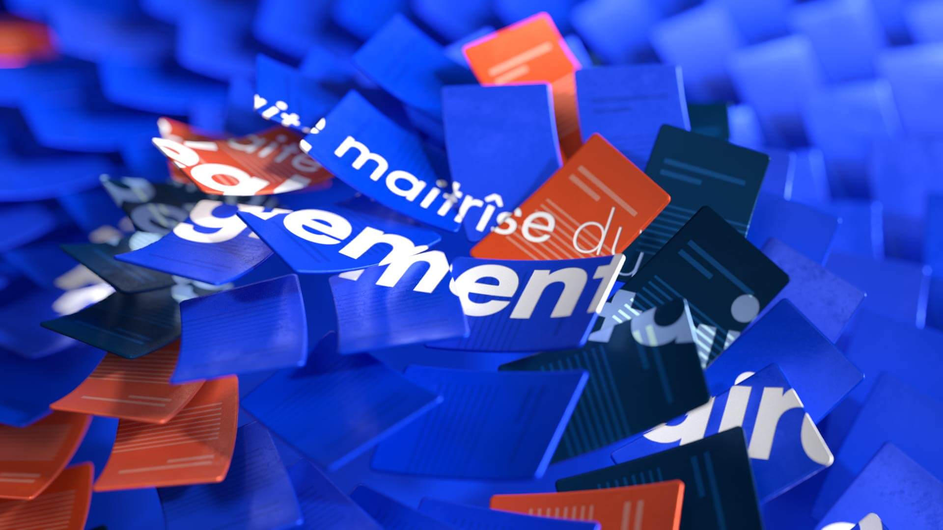 Close up of a 3D render of abstract paper sheets flying