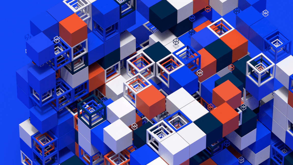 Abstract colored 3D cubes and grid for a motion design animation
