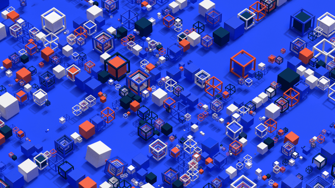 3D representation of a city composed of abstract and colored 3D cubes and grids.