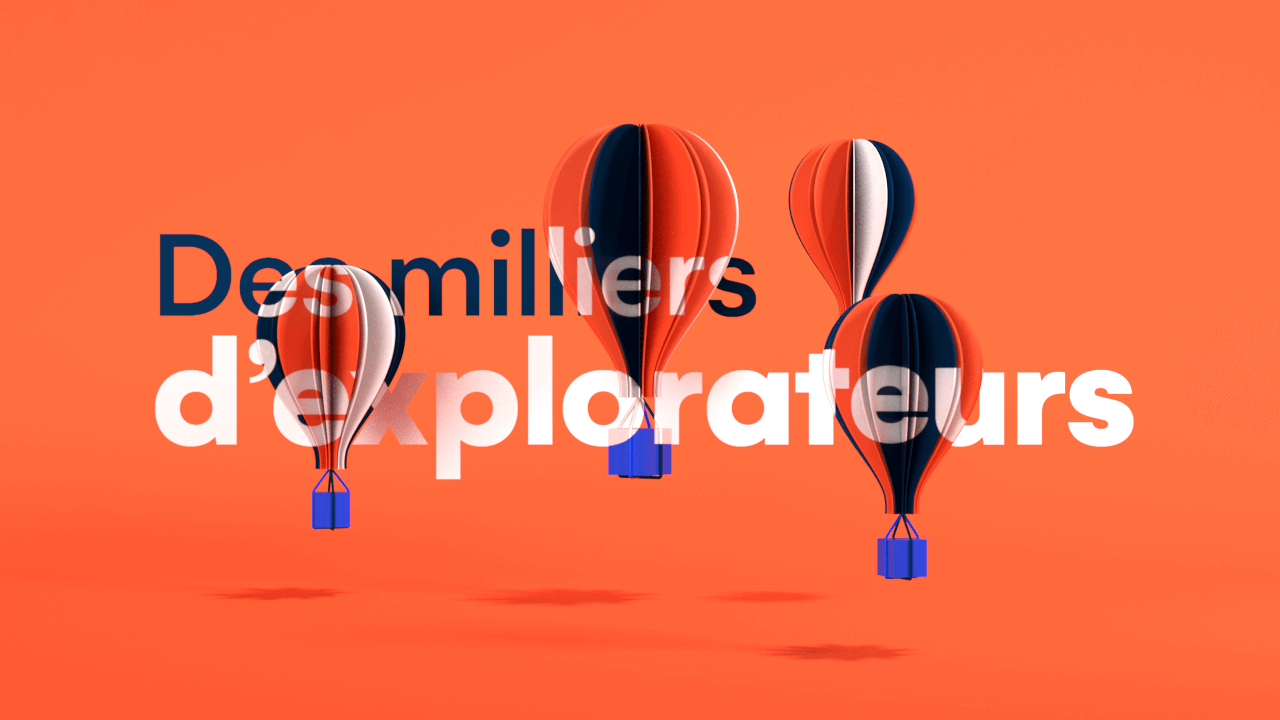 Stylized 3D hot air balloons for motion design on a vivid orange background