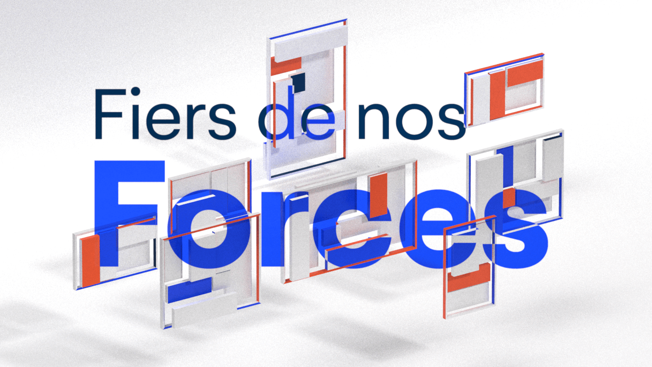 3D Design representing the force concept with simple geometric shapes