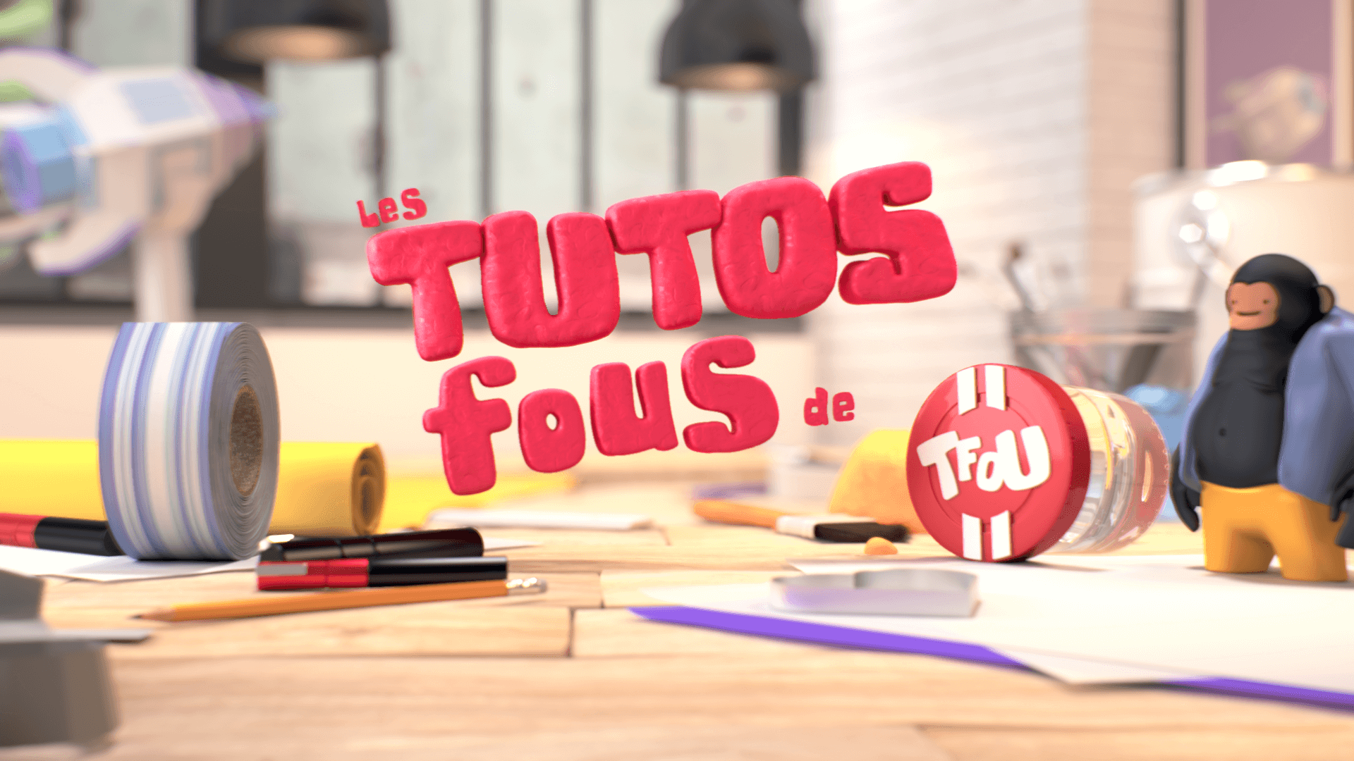 Logo end screen of our 3D stop motion animation for Tfou
