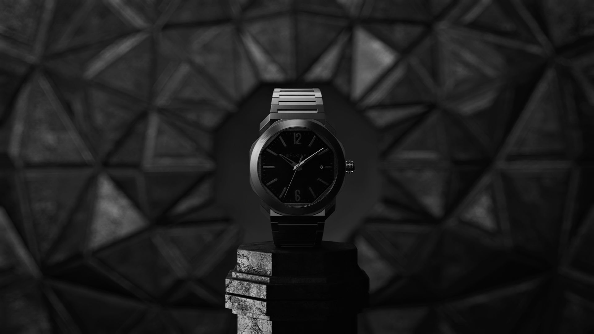 Bulgari Octo watch in a 3D environment with geometric patterns and dark concrete materials