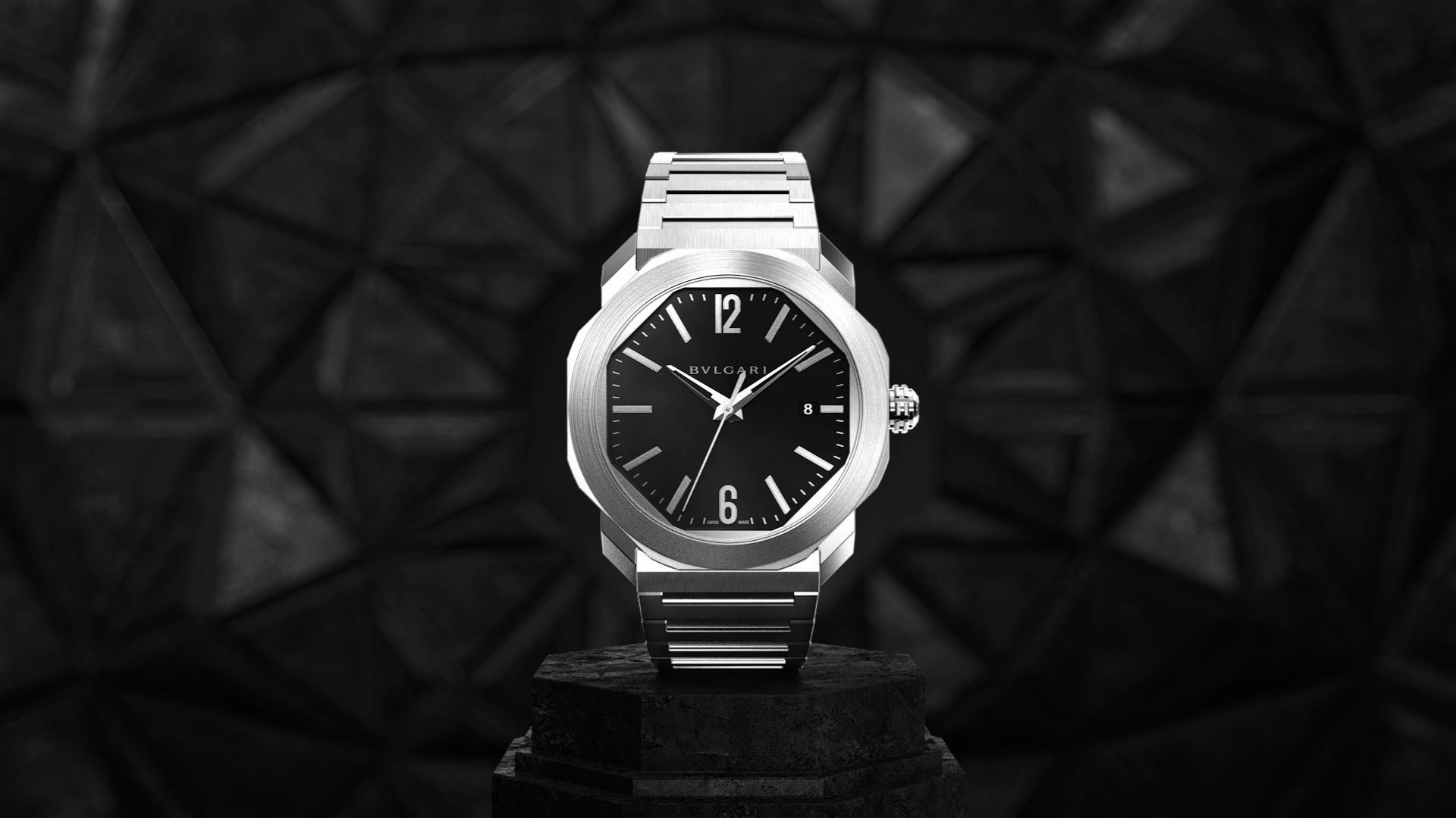 3D render of the Bulgari Octo watch in an abstract environment
