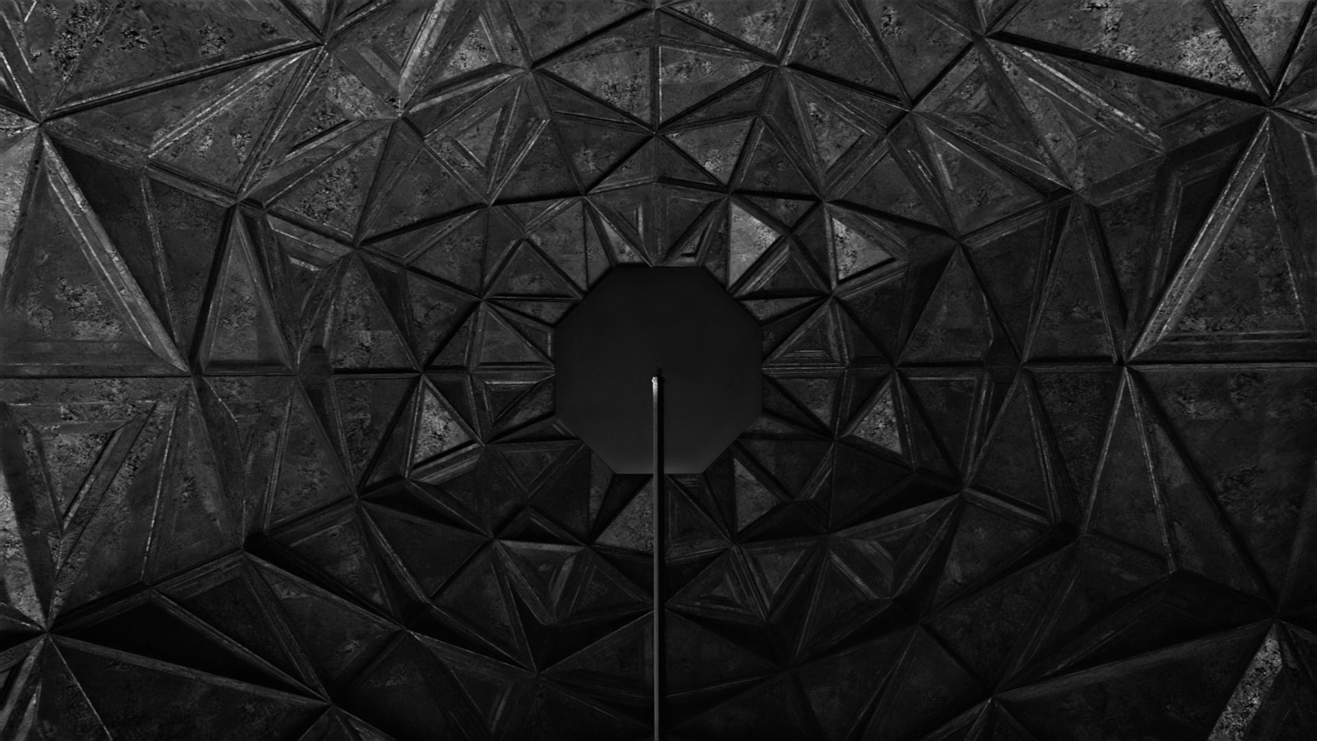 Abstract 3D environment with geometric patterns and dark concrete materials