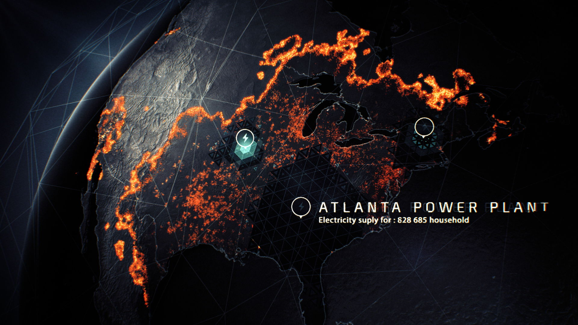 3D simulation of luminous particles spreading over the world for a motion design film