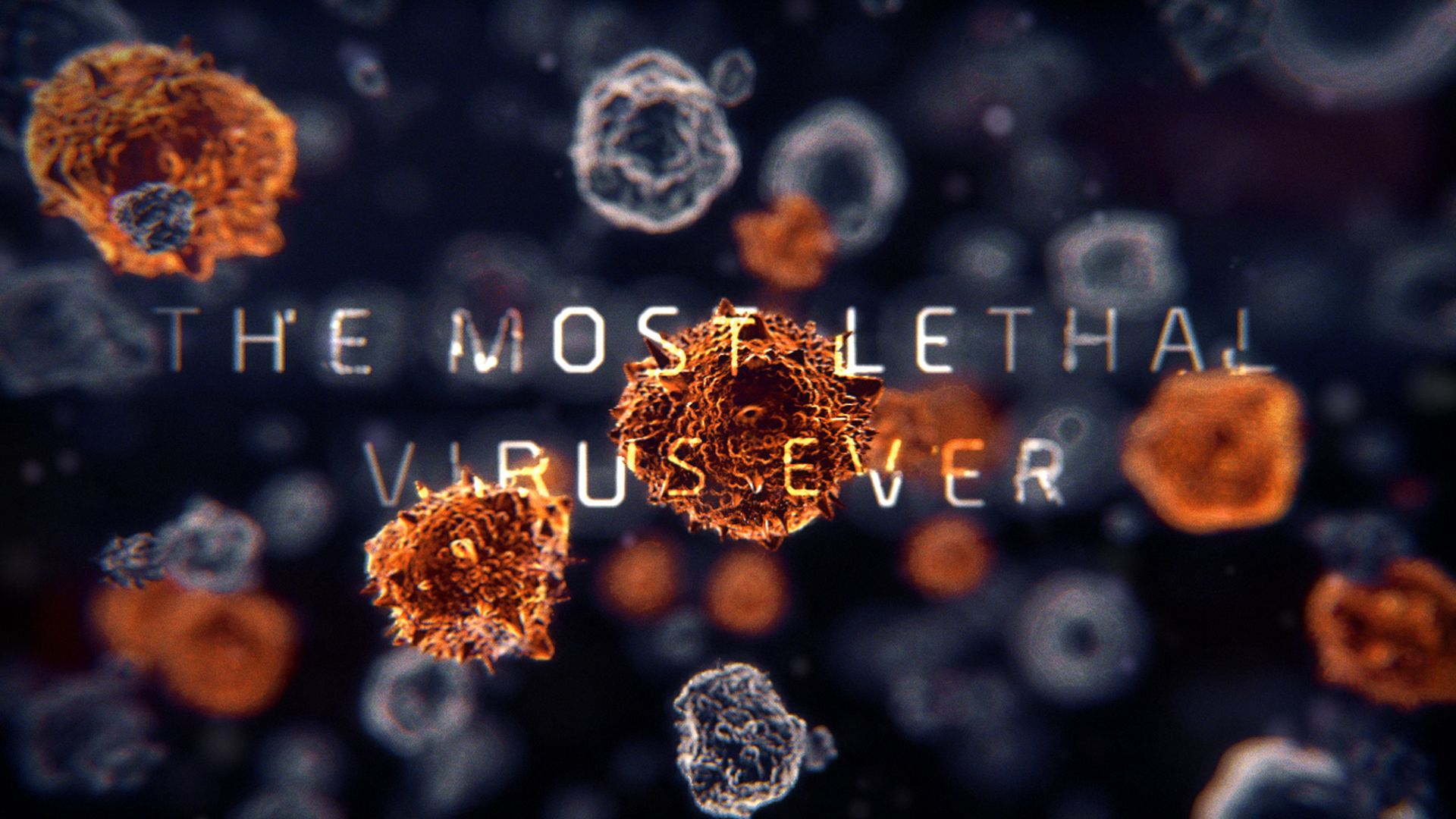 3D simulations of multiple virus evolving with a text projected on them