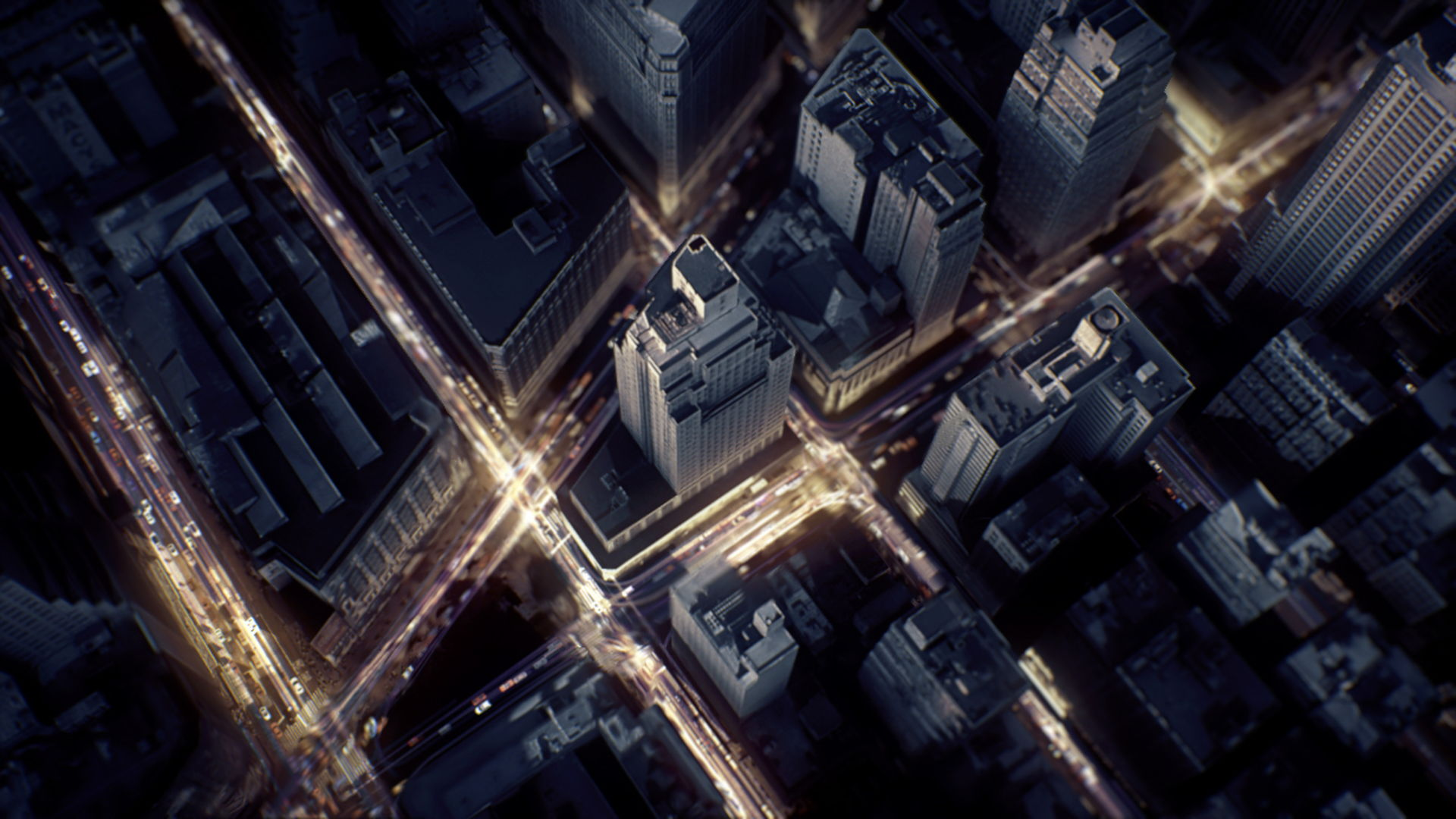 Aerial shot of NYC with luminous particles flowing in the streets