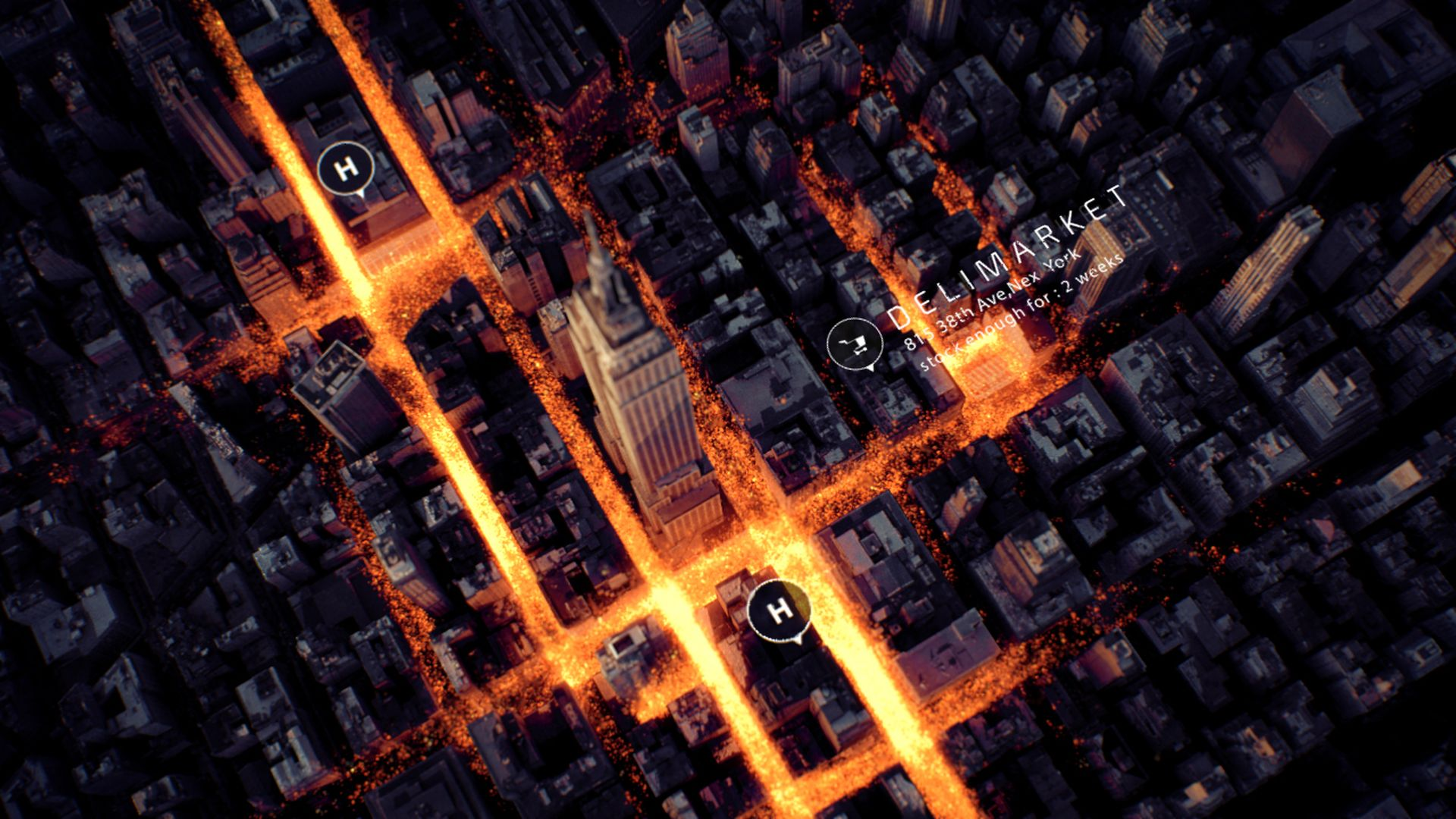 3D render of New York with luminous particles simulation spreading into the streets