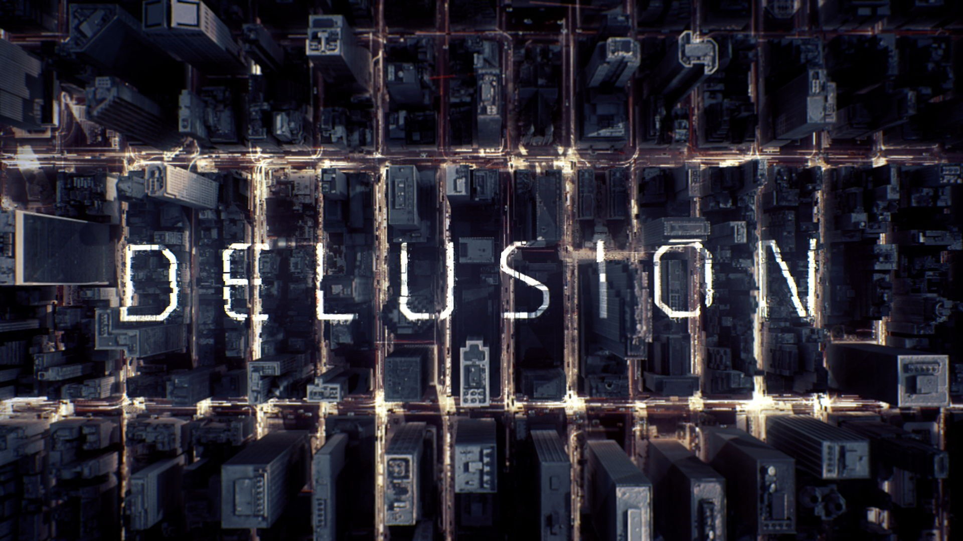 Aerial shot of NYC with luminous particles flow and a text projected with 3D camera mapping