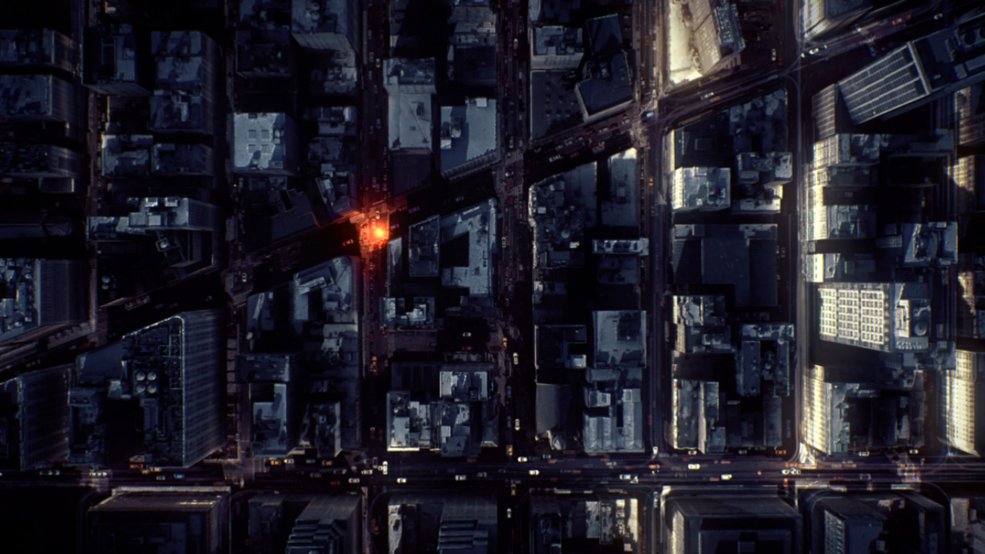 Aerial shot of a city with an orange luminous particle glowing