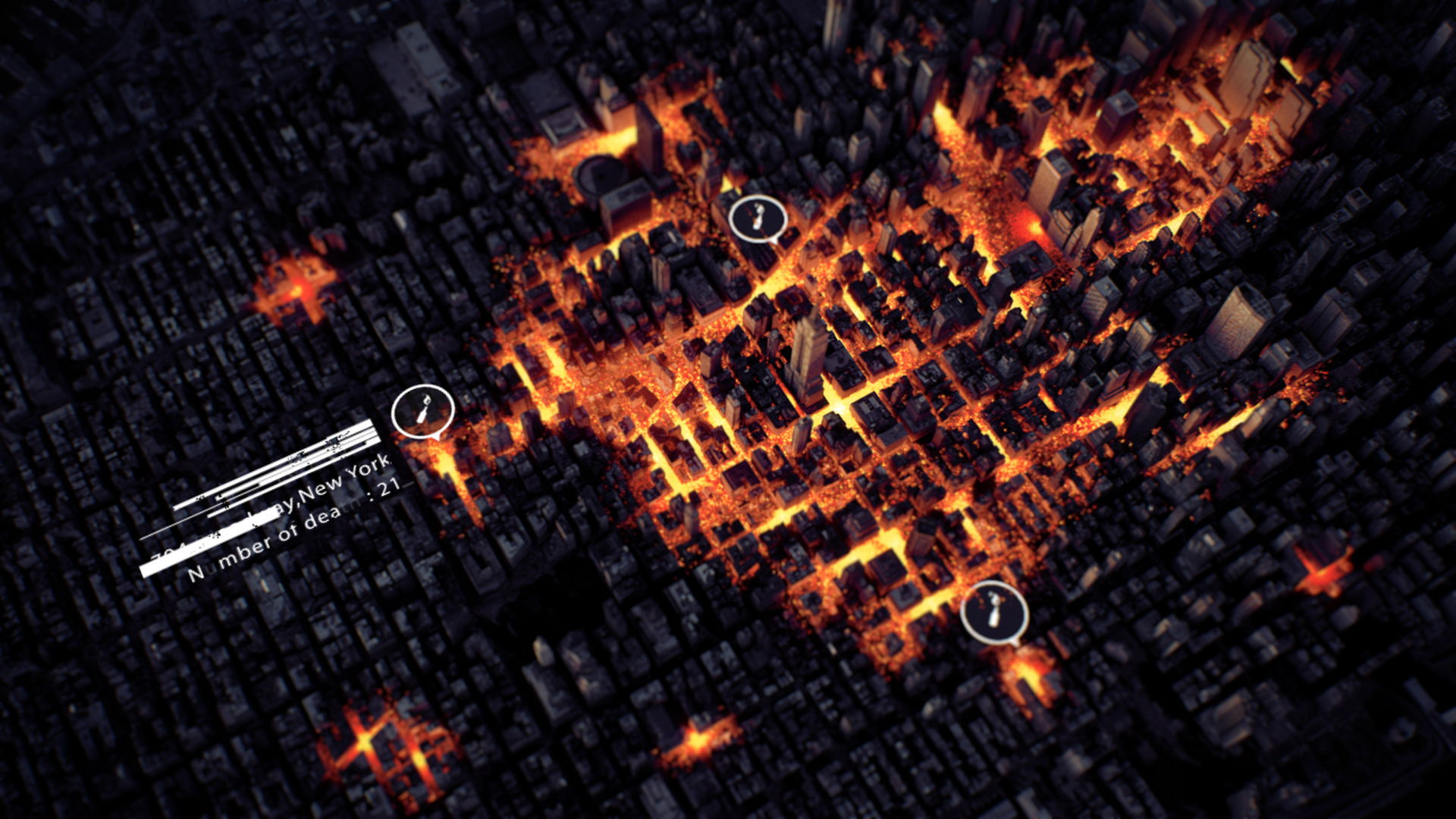 Top Shot of New York with luminous particles simulation spreading into the streets