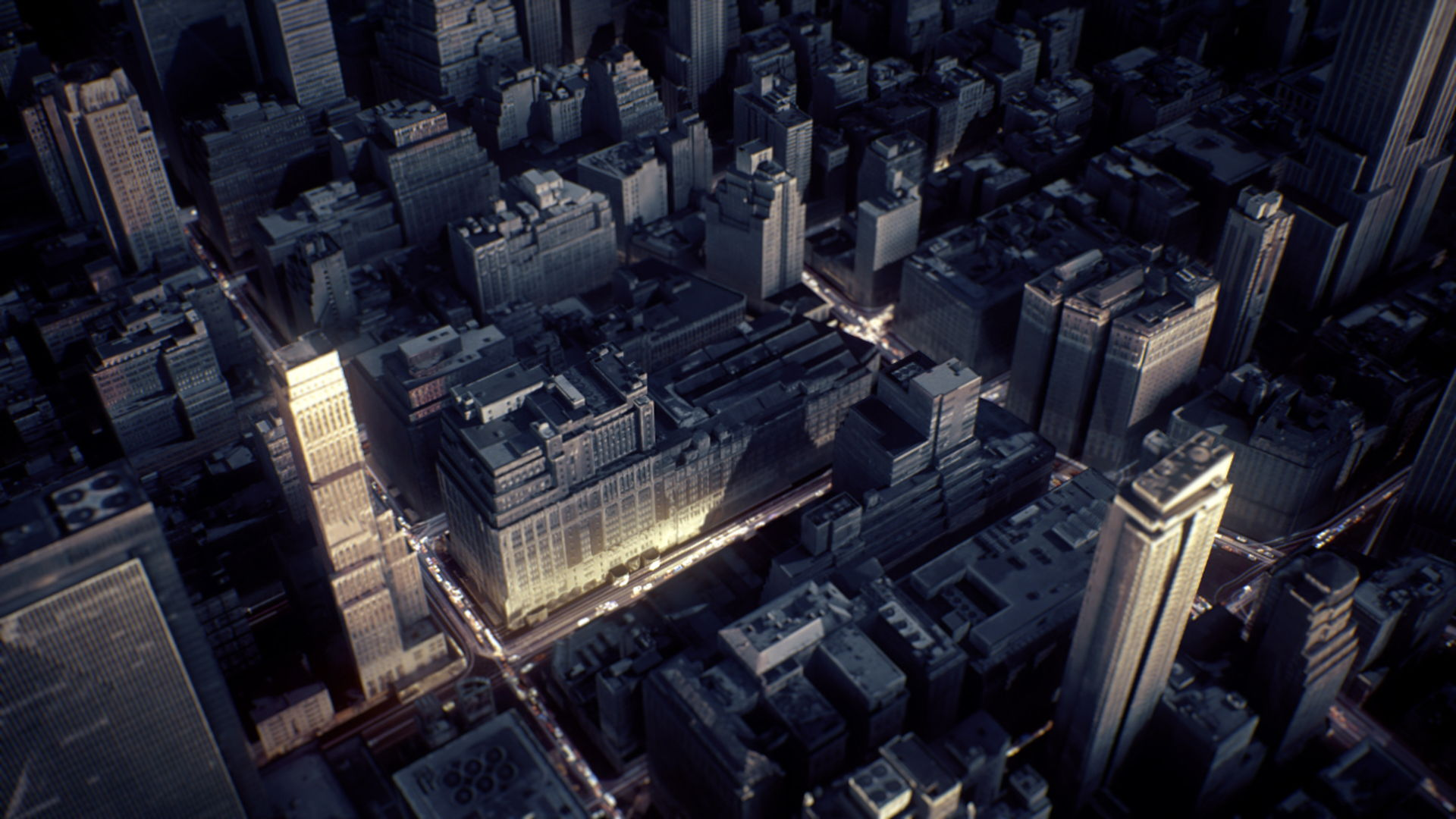 3D render of an aerial shot of New York City
