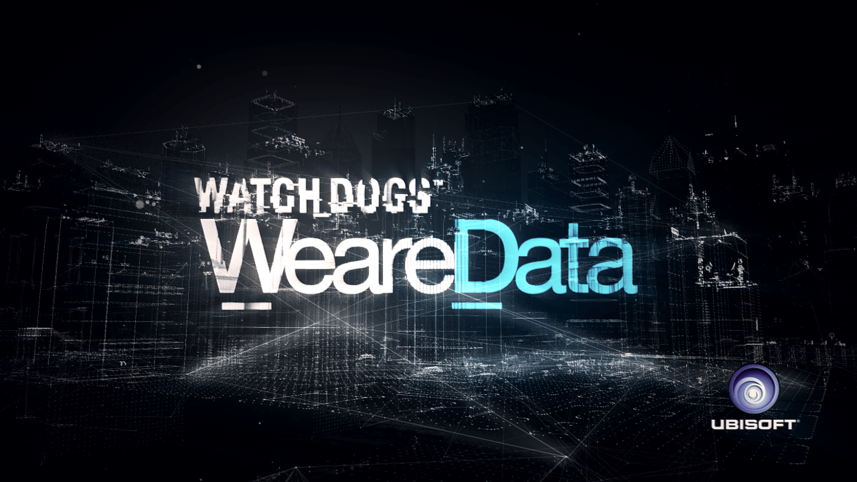 We Are Data logo projected onto a stylized sci-fi city made of particles and glitches