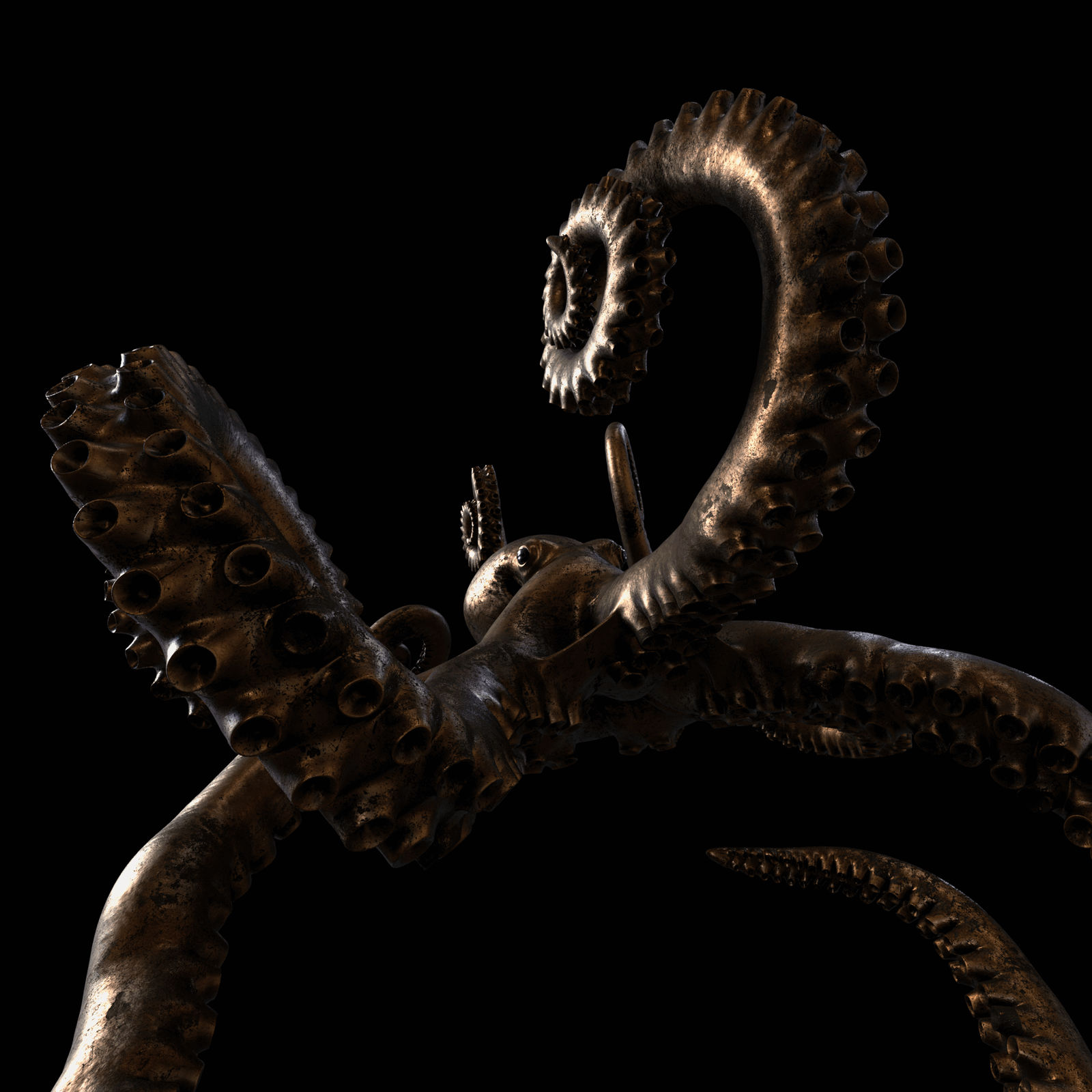 3D render of an octopus with a procedural bronzo material