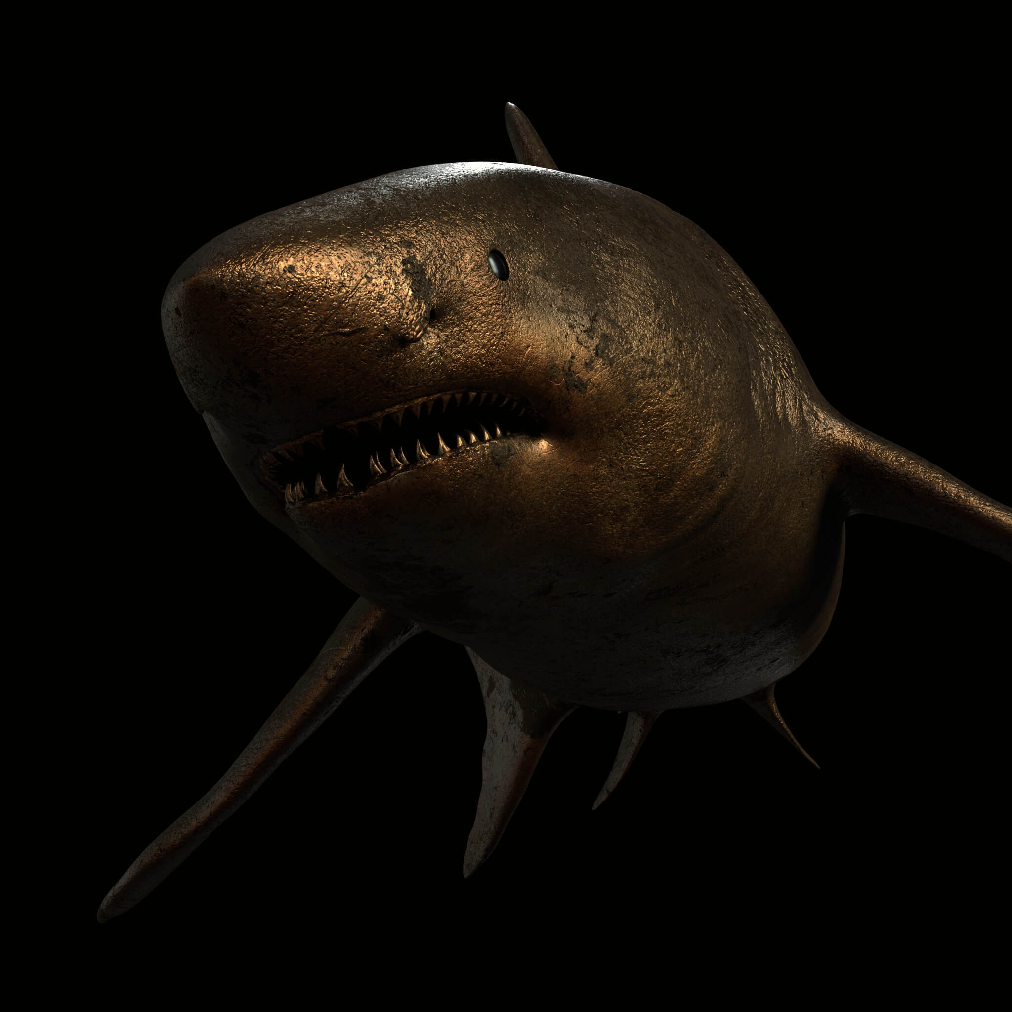 3D render of a shark with a procedural bronzo material