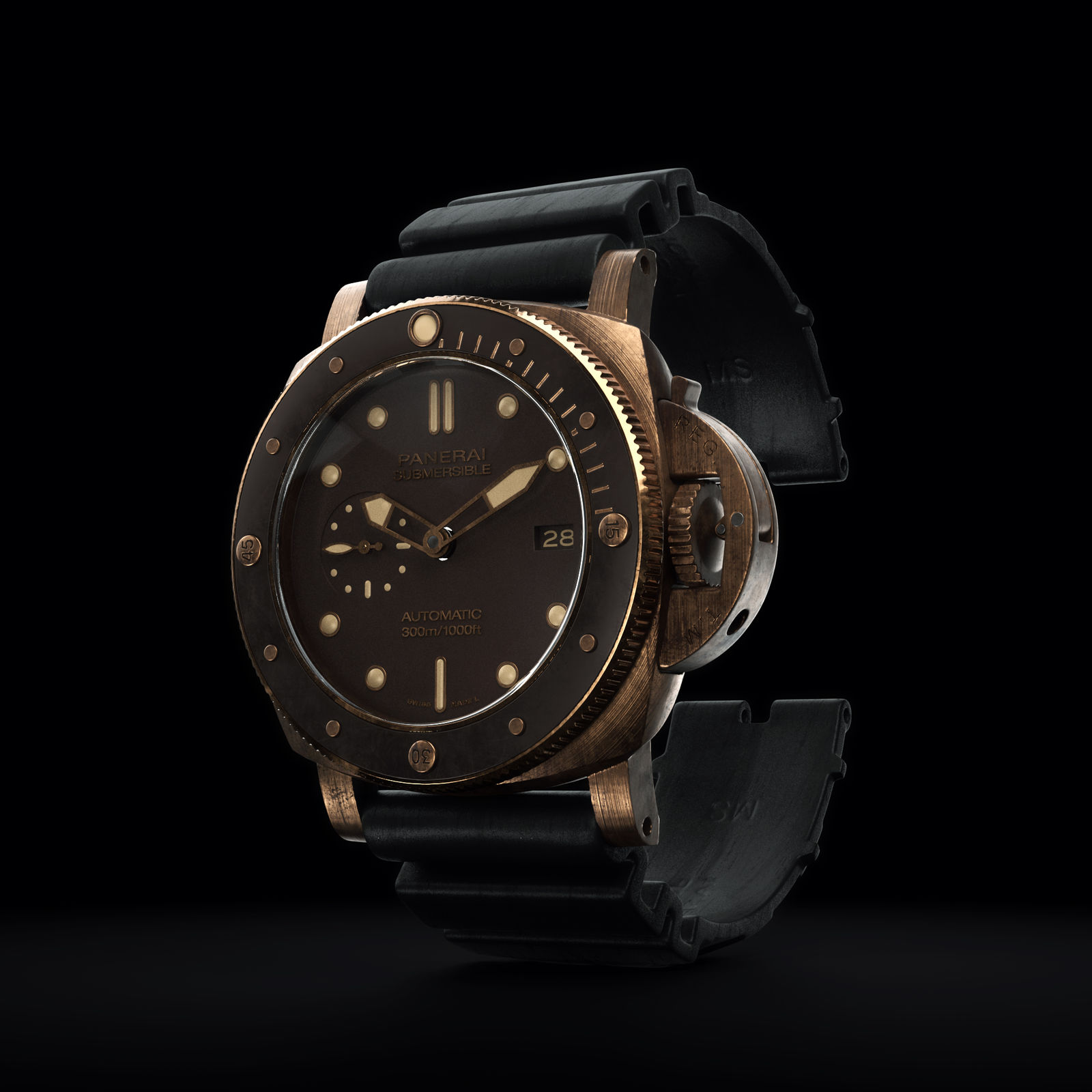 3D render of the Bronzo Panerai watch