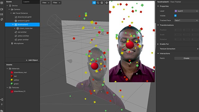 Screenshot of the Spark AR user interface