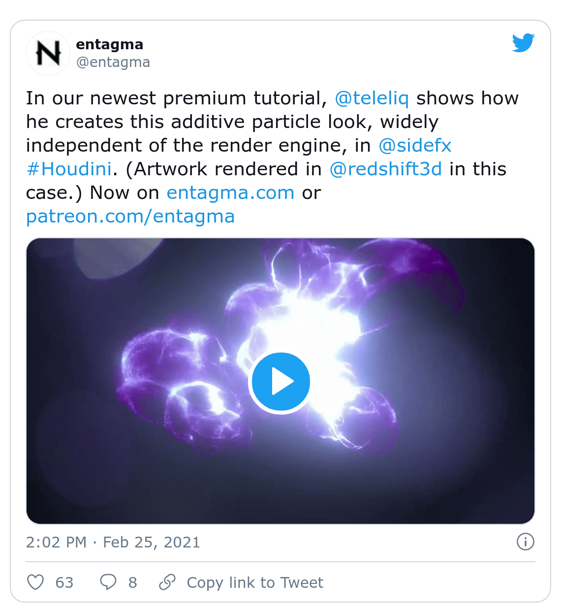 Screenshot of Entagma tweet about Houdini tutorial
