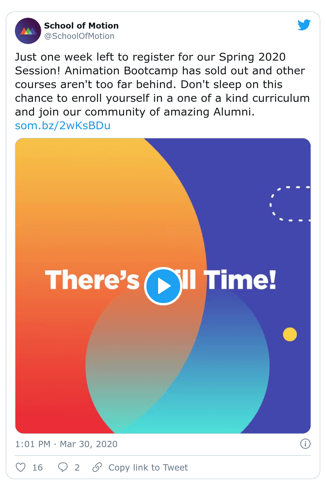 Screenshot of School of Motion tweet about their animation bootcamp