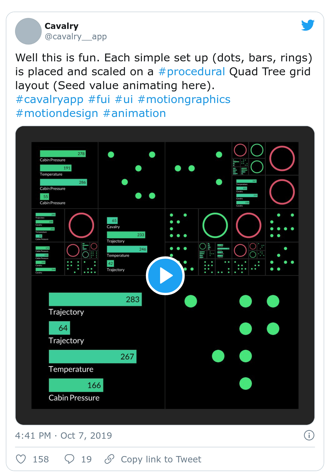 Screenshot of Cavalry tweet about quad tree grids
