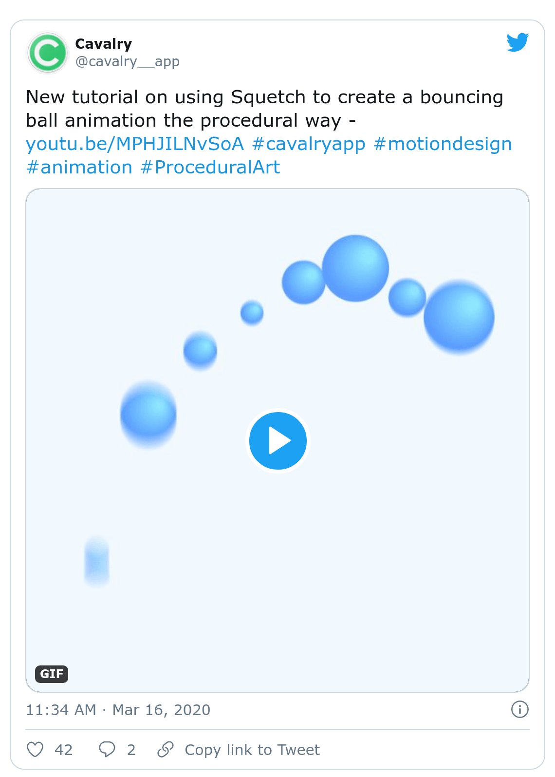 Screenshot of Cavalry tweet about boucing ball animation