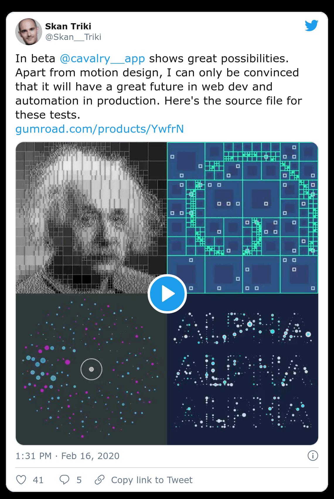 Screenshot of Skan Triki tweet about procedural animation in Cavalry