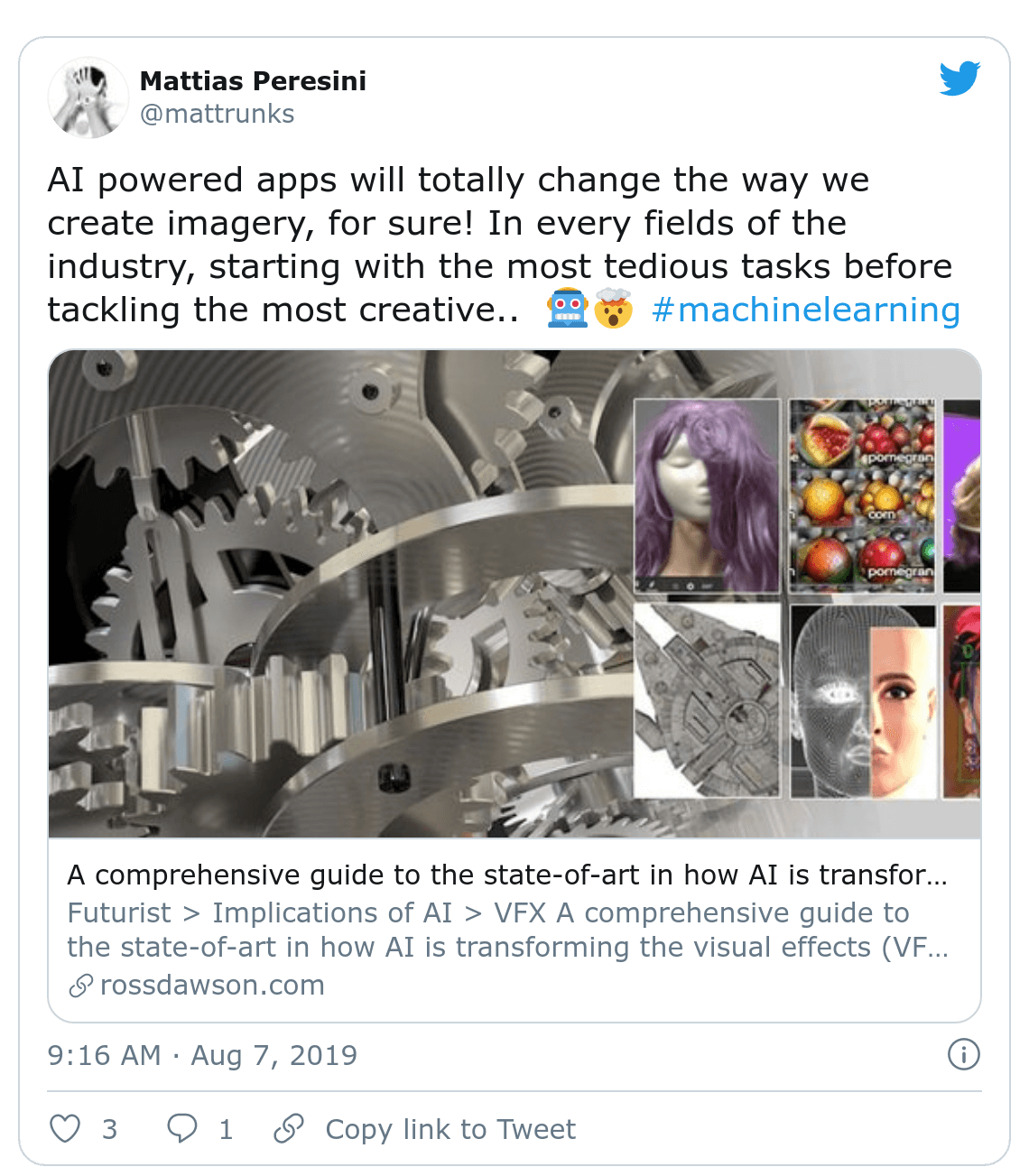 Screenshot of Mattrunks tweet about AI and Machine Learning